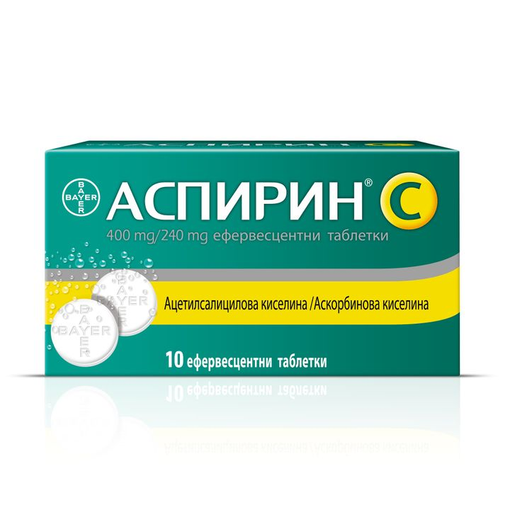 Bayer Аспирин C 400 mg/240 mg х10 ефервесцентни таблетки