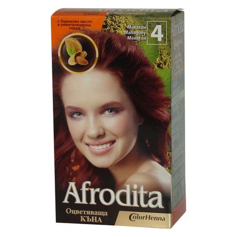 Afrodita Оцветяваща къна с бадемово масло и ревитализиращ серум, Цвят 4 Махагон