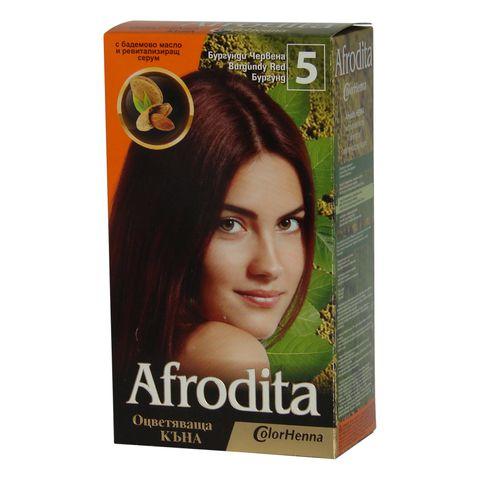 Afrodita Оцветяваща къна с бадемово масло и ревитализиращ серум, Цвят 5 Бургунди Червена