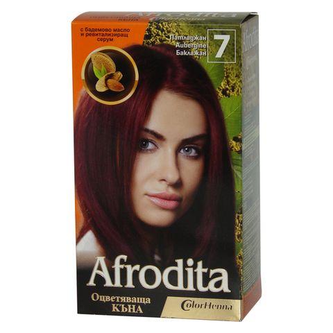 Afrodita Оцветяваща къна с бадемово масло и ревитализиращ серум, Цвят 7 Патладжан