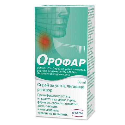Орофар Спрей за устна лигавица при болки и инфекции в гърлото и устата х30 мл