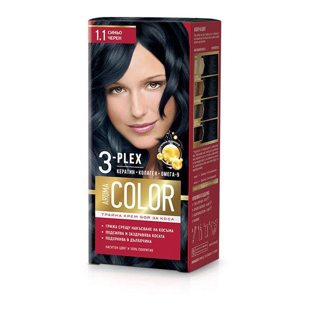 Aroma Color Дълготрайна крем-боя за коса, цвят 1-1 Синьо-черен