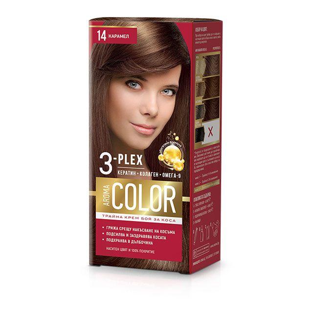 Aroma Color Дълготрайна крем-боя за коса, цвят 14 Карамел