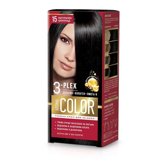 Aroma Color Дълготрайна крем-боя за коса, цвят 15 Натурален шоколад