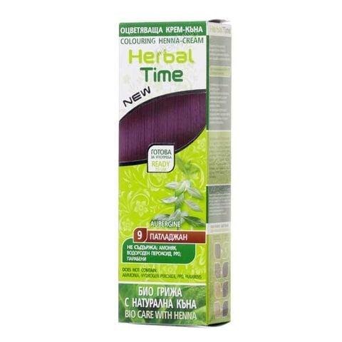 Herbal Time Оцветяваща крем - къна за коса, цвят 09 Патладжан х75 мл