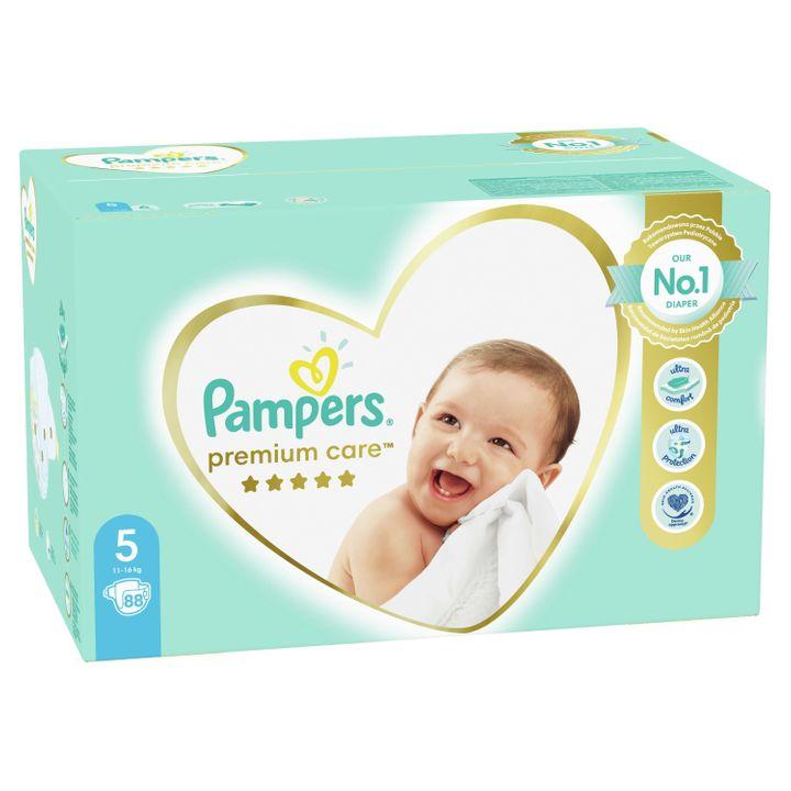 Pampers Premium Care 5 Junior Пелени за бебета и деца 11-16 кг х88 броя