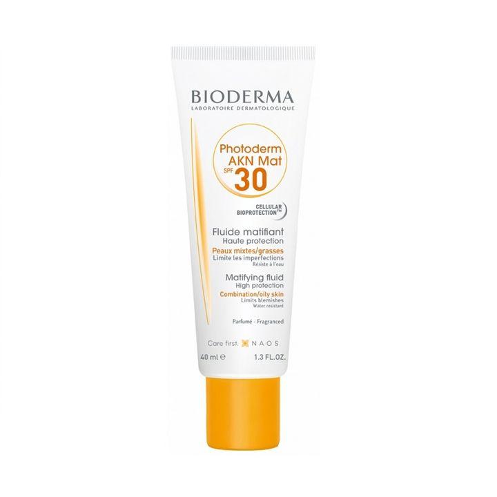 Bioderma Photoderm AKN Mat Фотозащитен матиращ флуид за лице за акнеична кожа SPF 30 x40 мл