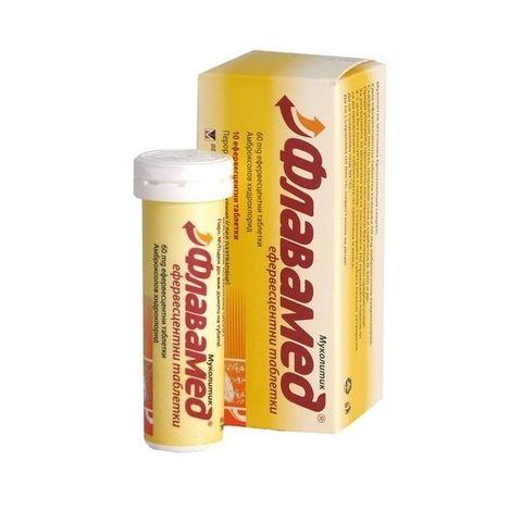 Флавамед при кашлица и настинка х10 ефервесцентни таблетки Berlin Chemie