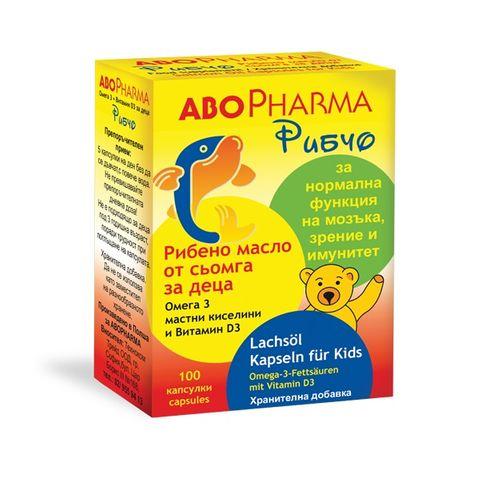 Рибчо за деца - Омега-3 Рибено масло от сьомга + витамин Д3 х100 капсули Abopharma