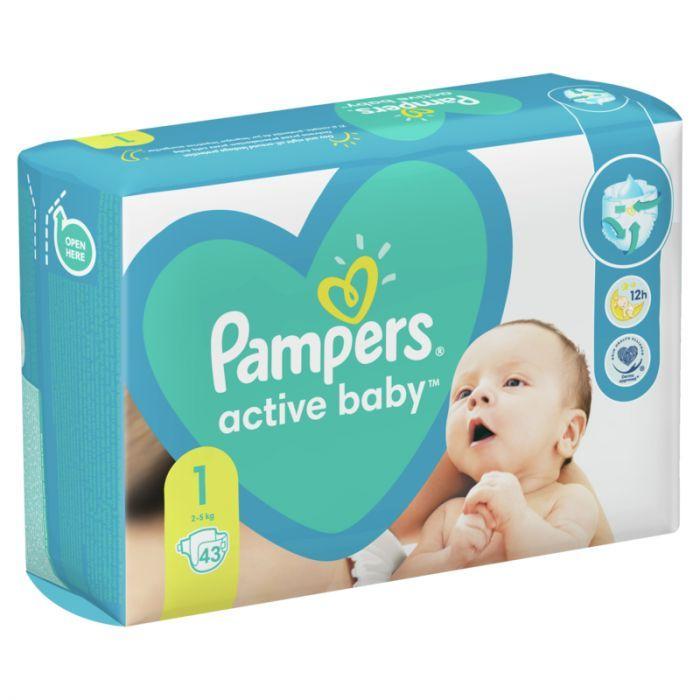 Pampers Active Baby 1 Newborn Пелени за деца от 2 до 5 килограма х43 броя