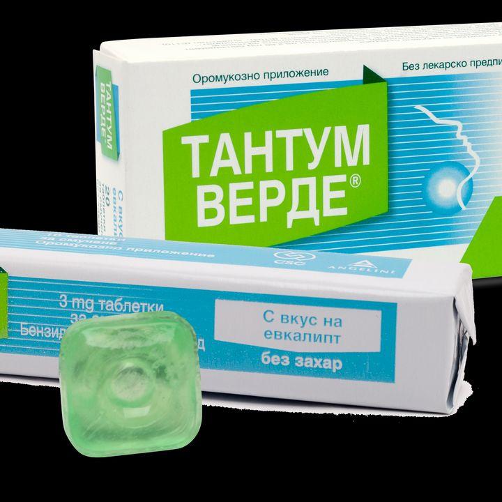 Тантум Верде с вкус на евкалипт при възпалено гърло и болки в устната кухина 3 мг x20 таблетки за смучене
