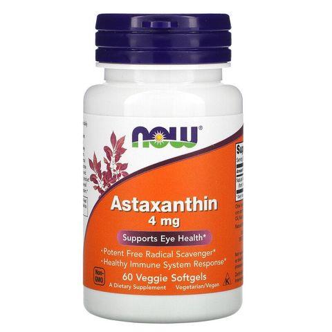 Now Foods Астаксантин за добро зрение 4мг х60 таблетки