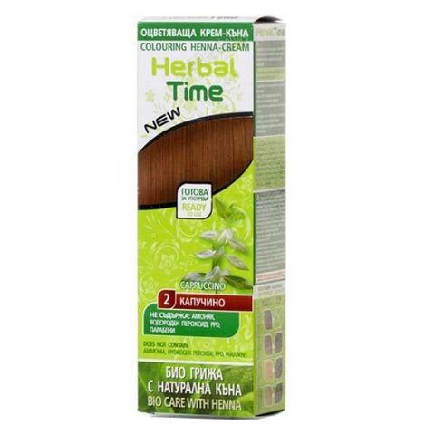 Herbal Time Оцветяваща крем - къна за коса, цвят 02 Капучино х75 мл