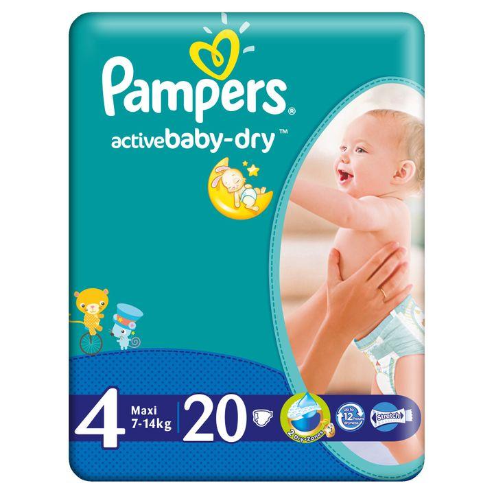 Pampers Active Baby Dry 4 Maxi Пелени за бебета и деца 7-14 килограма х20 броя