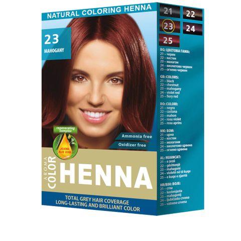 Aroma Color Henna Натурална оцветяваща къна на прах, цвят 23 Mahogany