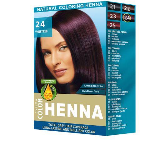 Aroma Color Henna Натурална оцветяваща къна на прах, цвят 24 Violet Red