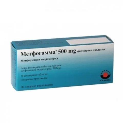 Метфогамма 500 х30 филмирани таблетки