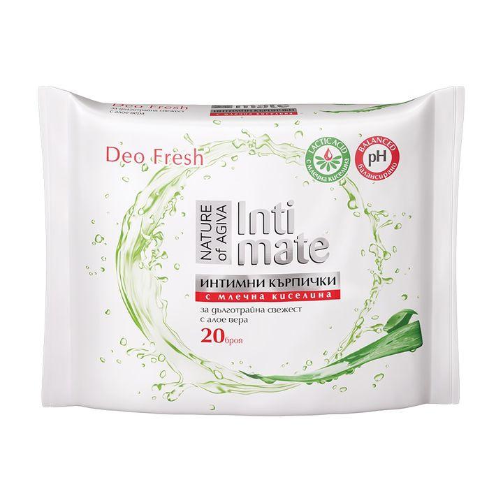 Agiva Intimate Интимни мокри кърпи с екстракт от алое вера и млчена киселина х20 броя