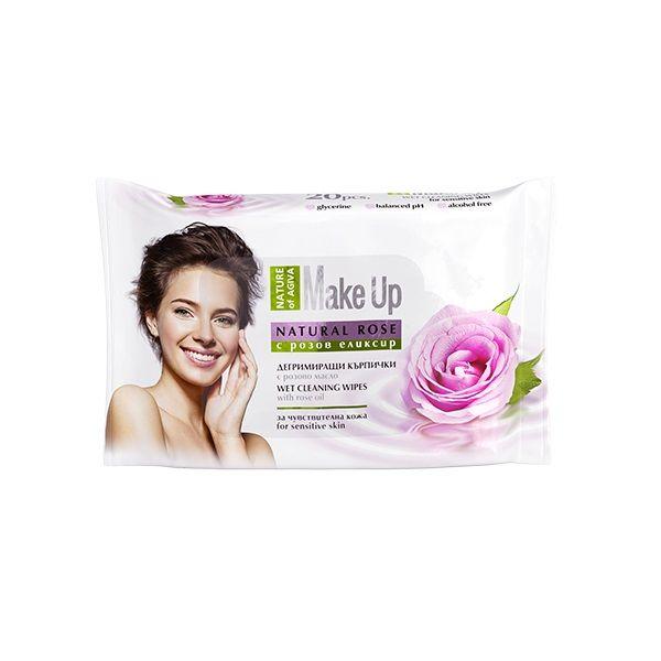 Nature of Agiva Дегримиращи мокри кърпи за чувствителна кожа с розово масло х20 броя