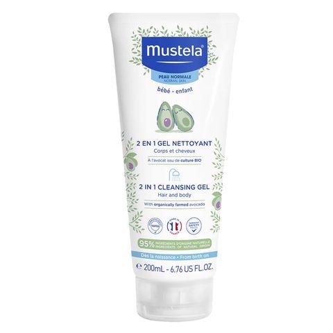 Mustela 2 в 1 Измиващ гел шампоан за коса и тяло за бебета и деца за нормална кожа x200 мл