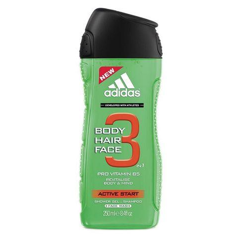 Adidas Active Start 3in1 Revitalising Мъжки душ гел за коса и тяло с провитамин B5 х250 мл