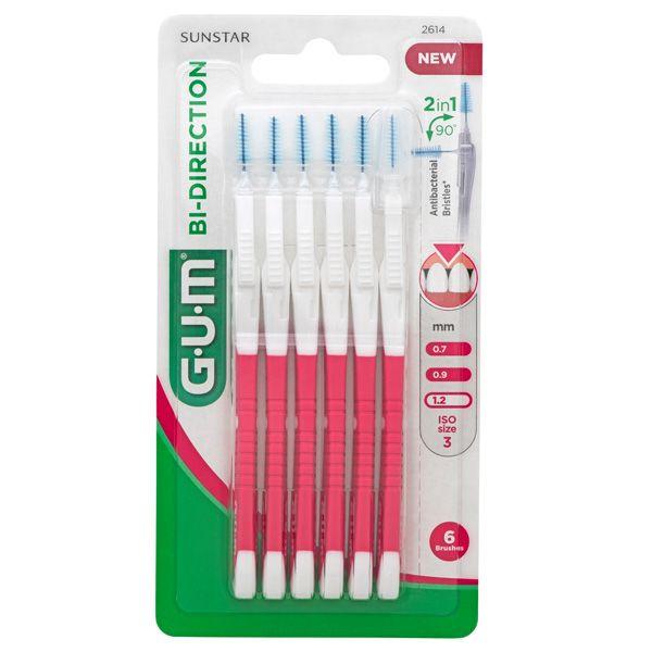 GUM Bi-Direction Интердентални четки за зъби, размер 1,2мм х6 бр