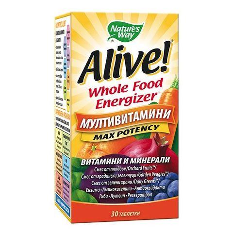 Alive Max Potency Мултивитамини максимален ефект х30 таблетки Nature's Way