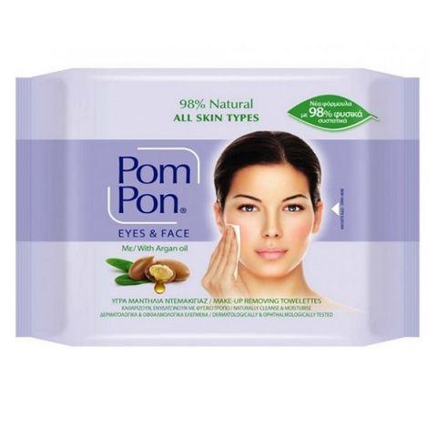 Pom Pon Почистващи мокри кърпи за грим с арганово масло х20 броя