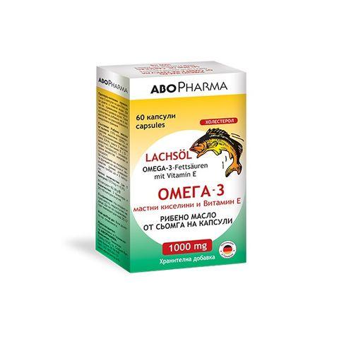 Рибено масло от сьомга с Омега 3 мастни киселини и Витамин Е 1000 мг x60 капсули Abopharma