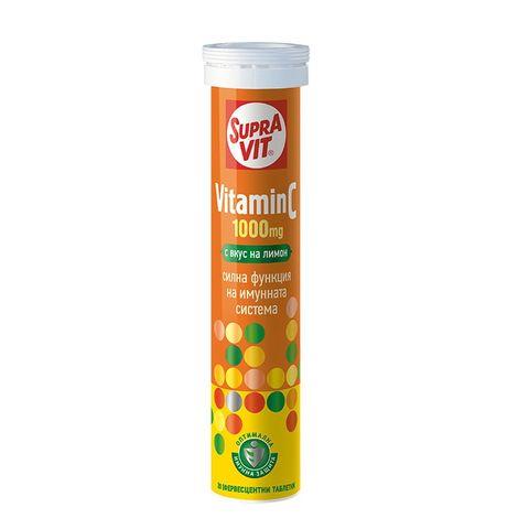 Supravit Витамин C за засилване на имунната система с вкус на лимон 1000 мг x20 ефервесцентни таблетки