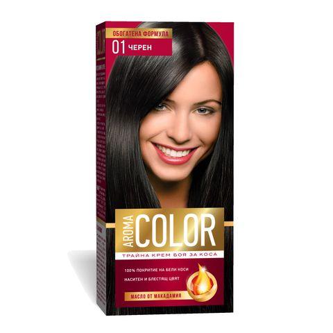 Aroma Color Дълготрайна крем-боя за коса, цвят 1 Черен