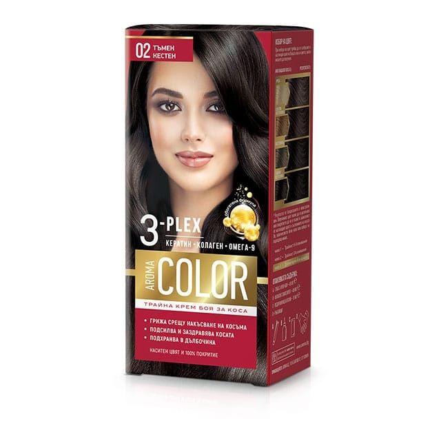 Aroma Color Дълготрайна крем-боя за коса, цвят 02 Тъмен кестен