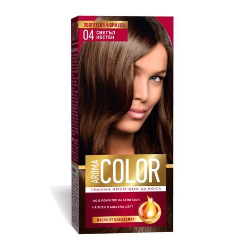 Aroma Color Дълготрайна крем-боя за коса, цвят 04 Светъл кестен