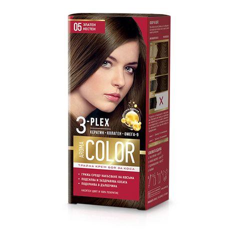 Aroma Color Дълготрайна крем-боя за коса, цвят 05 Златен кестен