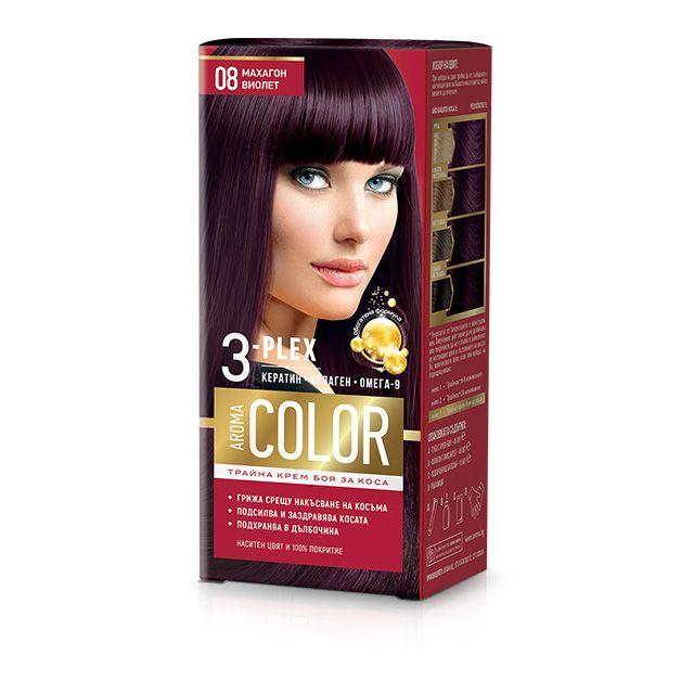 Aroma Color Дълготрайна крем-боя за коса, цвят 08 Махагон виолет