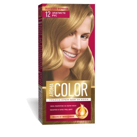 Aroma Color Дълготрайна крем-боя за коса, цвят 12 Златисто рус