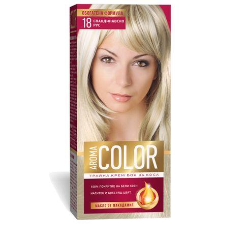 Aroma Color Дълготрайна крем-боя за коса, цвят 18 Скандинавско рус
