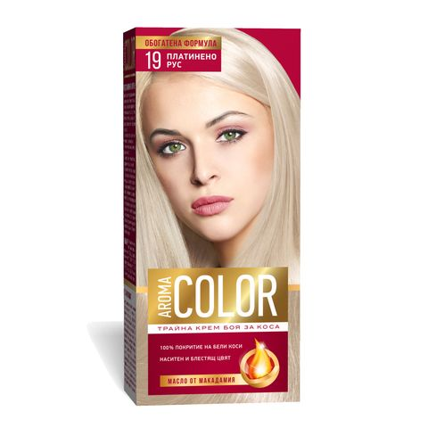 Aroma Color Дълготрайна крем-боя за коса, цвят 19 Платинено рус