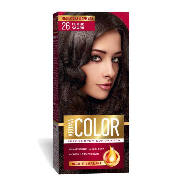 Aroma Color Дълготрайна крем-боя за коса, цвят 26 Тъмно кафяв