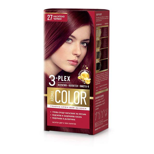 Aroma Color Дълготрайна крем-боя за коса, цвят 27 Наситено червен