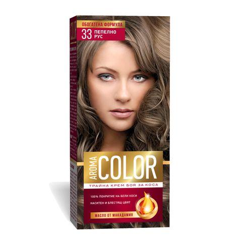 Aroma Color Дълготрайна крем-боя за коса, цвят 33 Пепелно рус