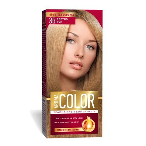 Aroma Color Дълготрайна крем-боя за коса, цвят 35 Светло рус