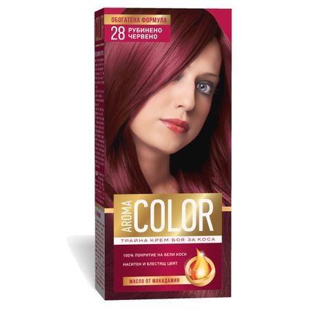 Aroma Color Дълготрайна крем-боя за коса, цвят 28 Рубинено червен