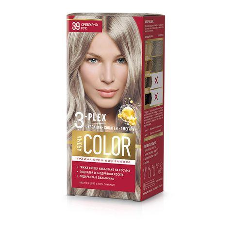 Aroma Color Дълготрайна крем-боя за коса, цвят 39 Сребърно рус