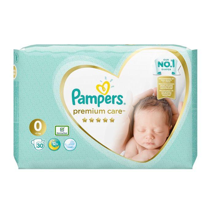 Pampers Premium Care 0 Newborn Бебешки пелени за новородени до 3 кг х30 броя