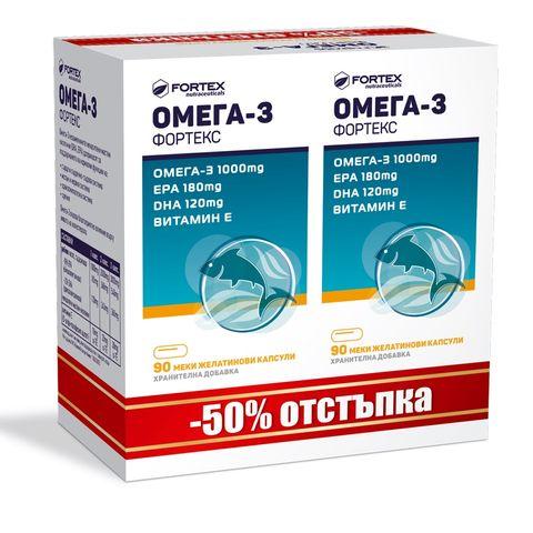 Fortex Промо пакет Омега-3 + Витамин Е х90+90 капсули