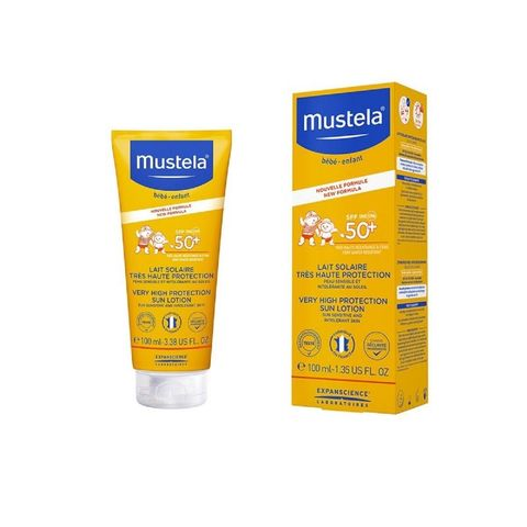 Mustela Слънцезащитен лосион за лице и тяло за бебета и деца SPF50+ x100 мл