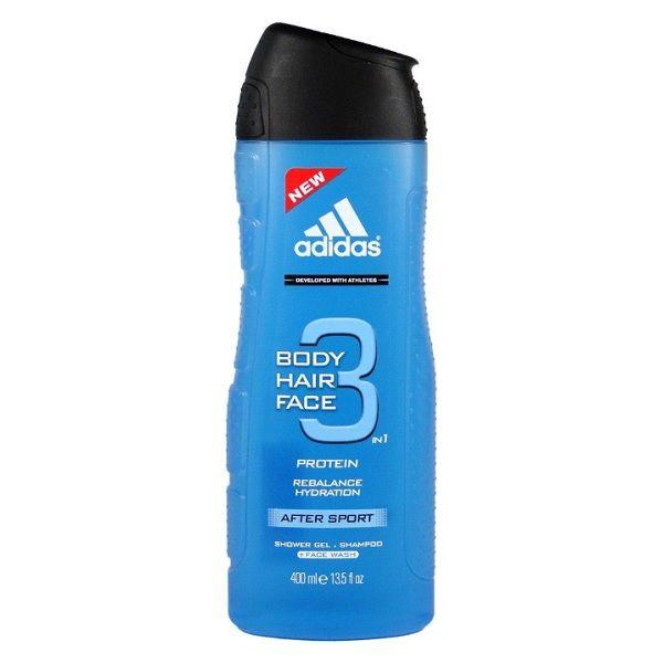 Adidas After Sport 3in1 Protein Мъжки душ гел за коса и тяло с протеин и цитрусов аромат х 400 мл