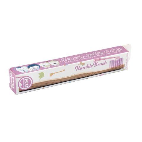 Humble Brush Бамбукова четка за зъби за деца, цвят Розова х1 брой