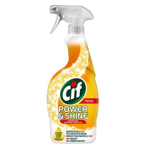 Cif Power & Shine Почистващ препарат за кухня с етерични масла от портокал и мандарина x750 мл